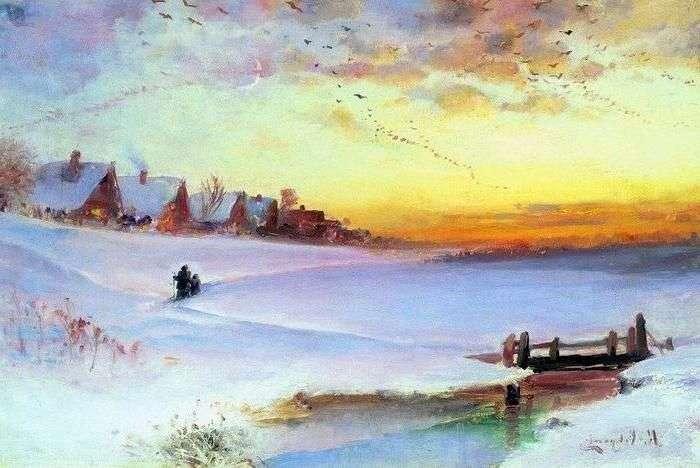 Описание картины Алексея Саврасова «Зимний пейзаж» (Оттепель)