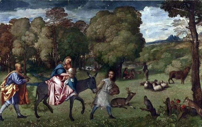 Описание картины Тициана Вечеллио «Бегство в Египет»