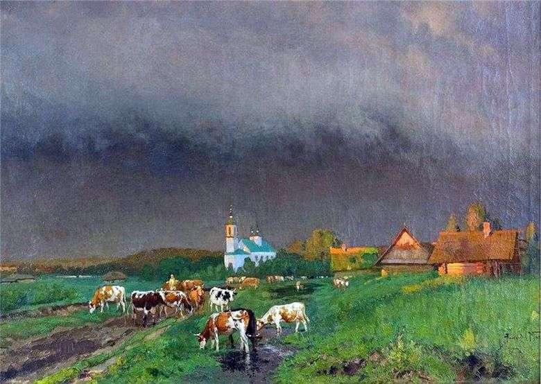 Описание картины Александра Маковского «Перед грозой (Пейзаж с коровами)»