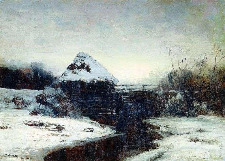 Описание картины Исаака Левитана «Зимний пейзаж с мельницей»