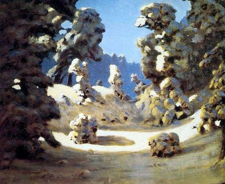 Описание картины Архипа Куинджи «Солнечные пятна на инее»