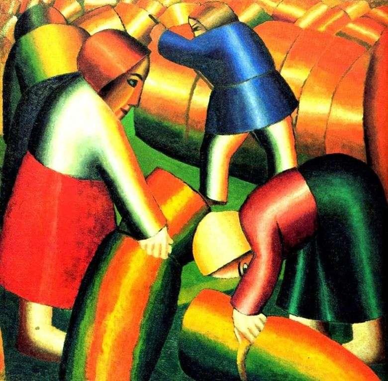 Описание картины Казимира Малевича «Уборка ржи»