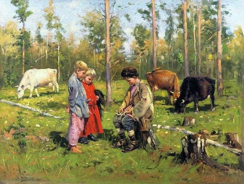 Описание картины Владимира Маковского «Пастушки»