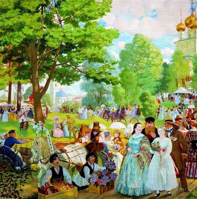 Описание картины Бориса Кустодиева «Троицын день»