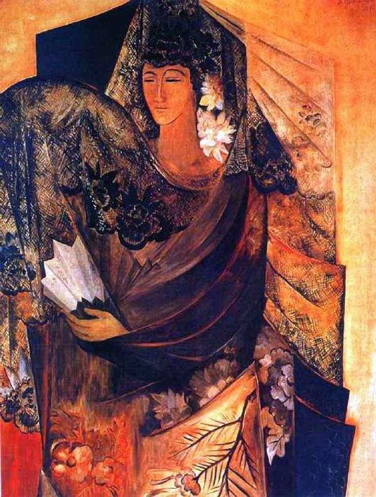 Описание картины Натальи Гончаровой «Испанка»