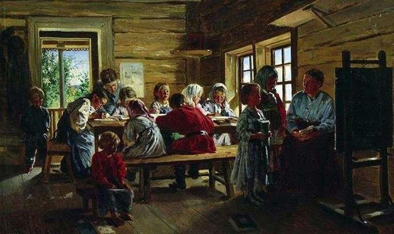 Описание картины Воадимира Маковского «В сельской школе»