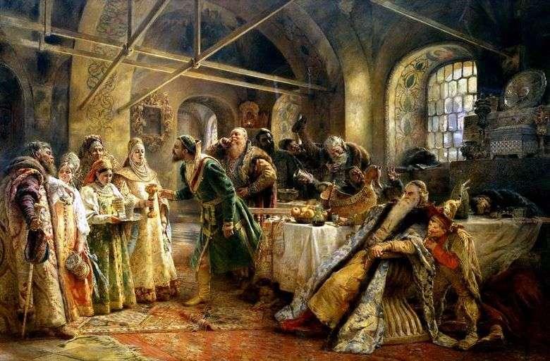 Описание картины Владимира Маковского «Поцелуйный обряд»
