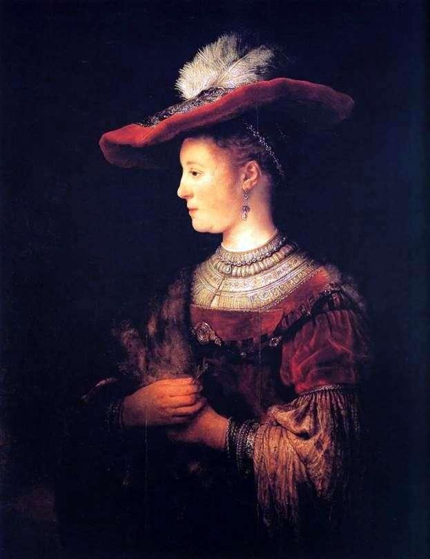 Описание картины Рембрандта Харменса Ван Рейна «Портрет Саскии в красной шляпе»