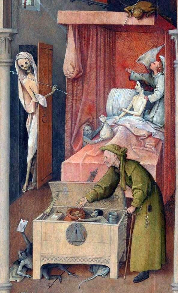 Описание картины Иеронима Босха «Смерть и скупец»
