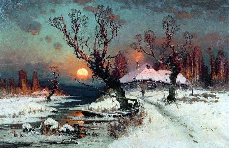 Описание картины Юлия Клевера «Зимний пейзаж»