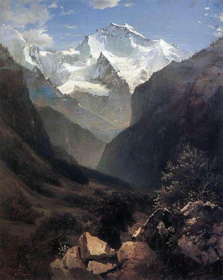 Описание картины Алексея Саврасова «Вид в Швейцарских Альпах»