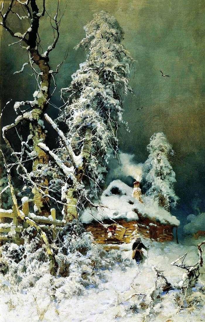 Описание картины Юлия Клевера «Зимний пейзаж с избушкой»