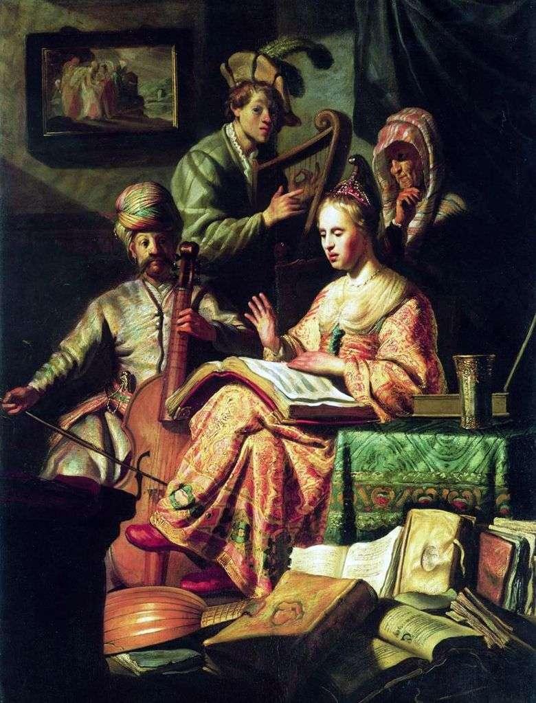 Описание картины Рембрандта Харменса Ван Рейна «Аллегория музыки»