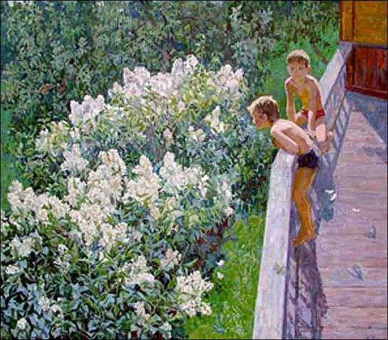 Описание картины Майи Копытцевой «Летний день. Цветет сирень»