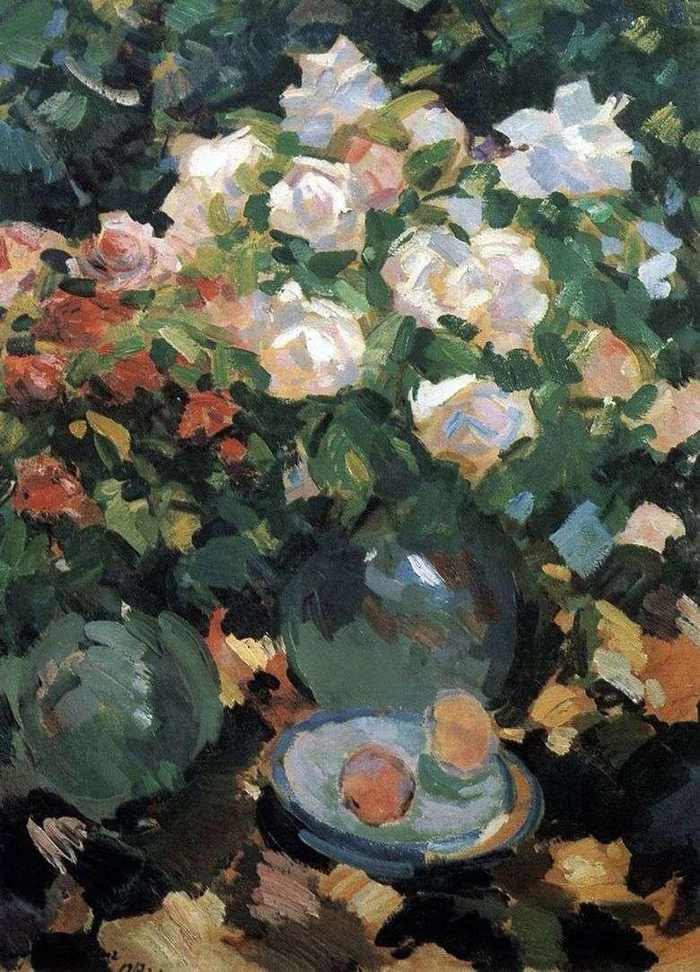 Описание картины Константина Коровина «Розы в голубых кувшинах»