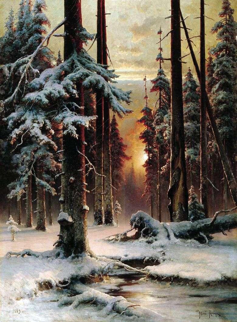 Описание картины Юлия Клевера «Зимний закат в еловом лесу»