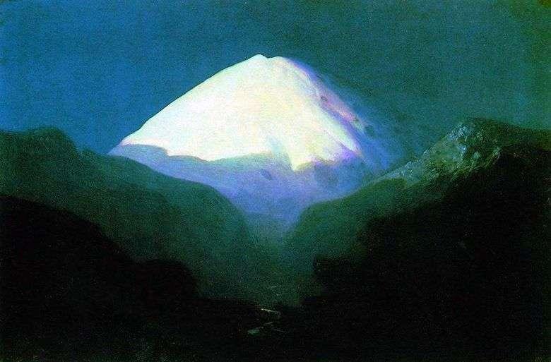 Описание картины Архипа Куинджи «Эльбрус. Лунная ночь»