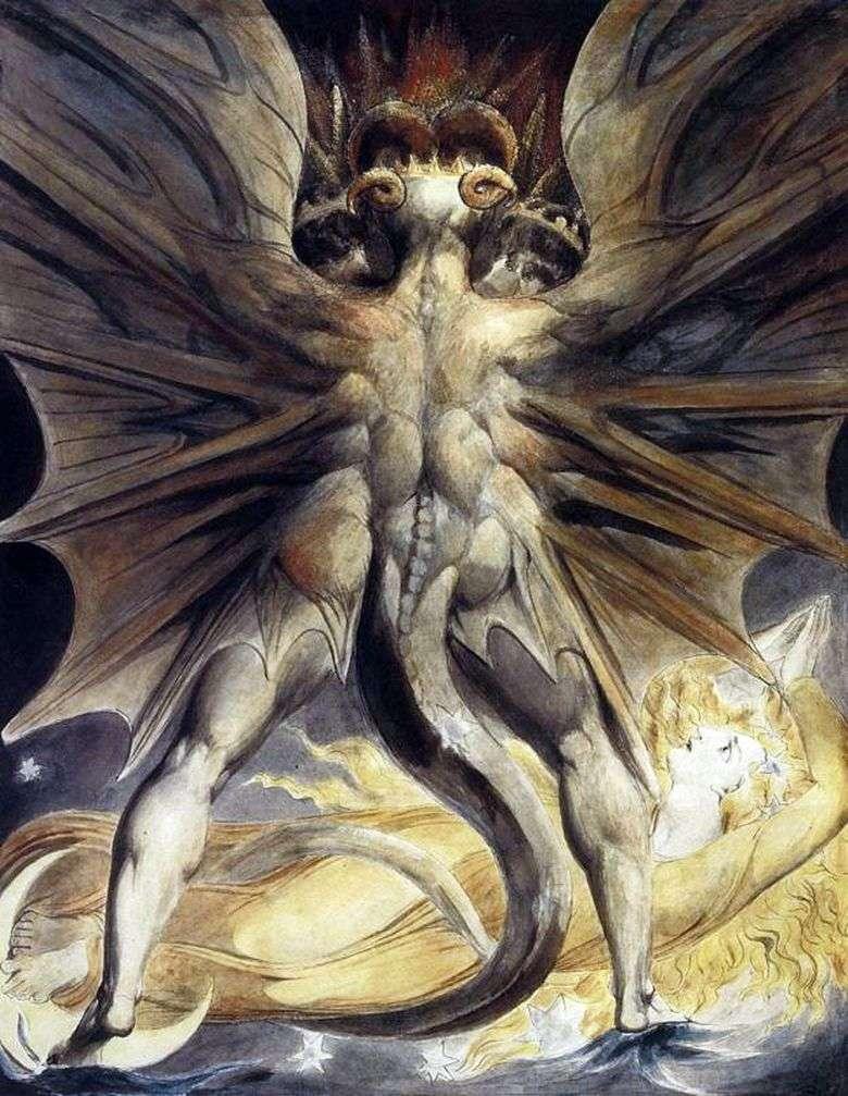 Описание картины Уильяма Блейка «Великий красный дракон»