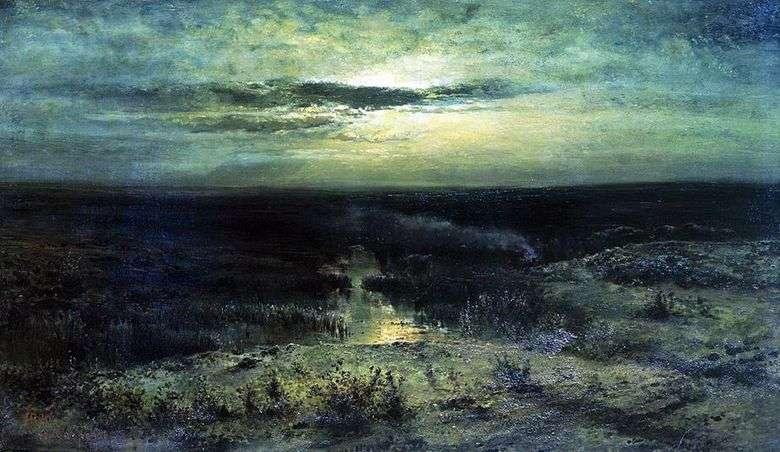 Описание картины Алексея Саврасова «Лунная ночь. Болото»