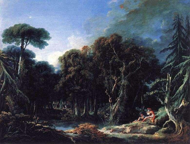 Описание картины Франсуа Буше «Лесной пейзаж с солдатами»&nbsp