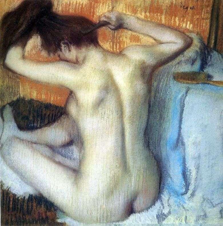 Описание картины Эдгара Дега «Причесывающаяся женщина» (За туалетом)