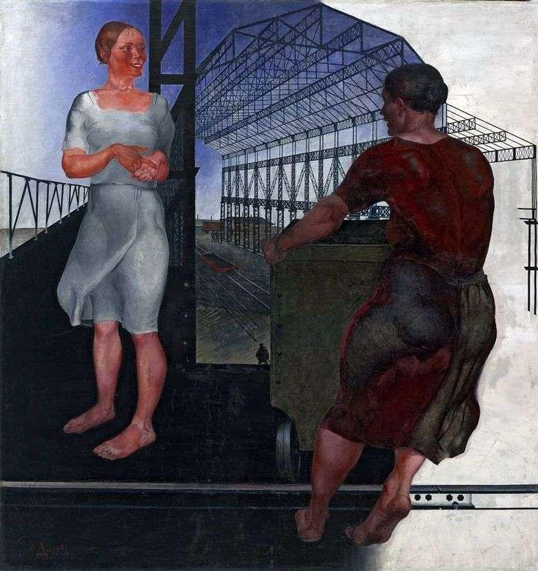 Описание картины Александра Дейнеки «На стройке новых цехов»