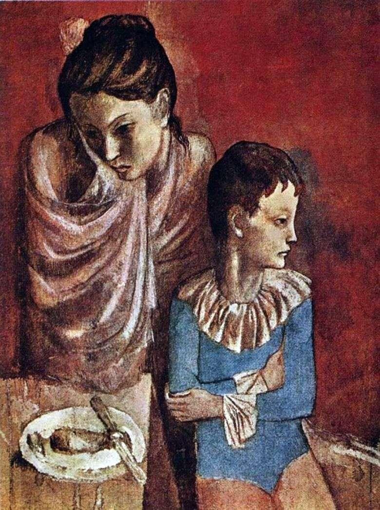 Описание картины Пабло Пикассо «Акробаты мать и сын»