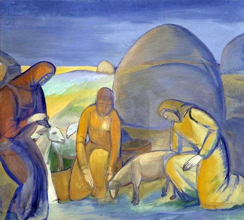 Описание картины Павла Кузнецова «В степи за работой. Стрижка овец»