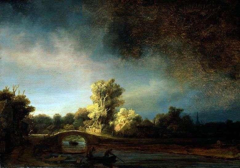 Описание картины Рембранта Харменса ван Рейна «Пейзаж с каменным мостом»