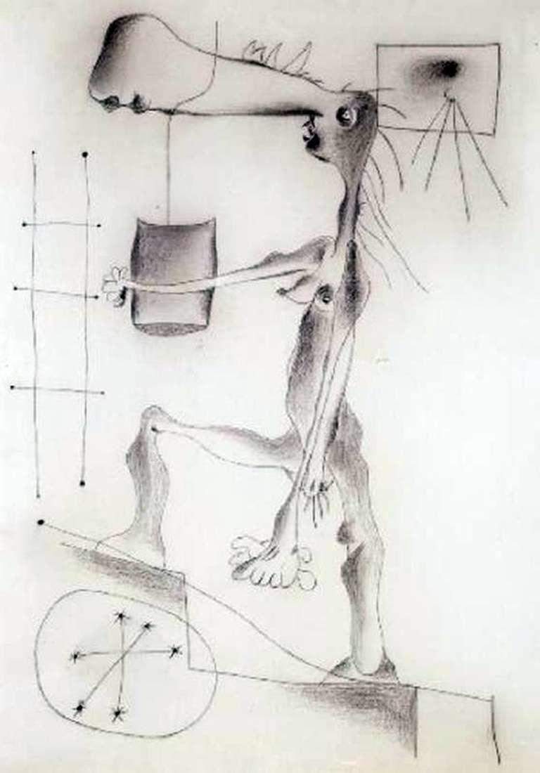 Описание картины Хуана Миро «Обнаженная поднимающаяся по лестнице»