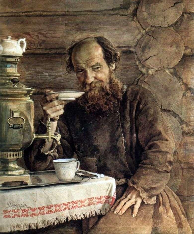 Описание картины Александра Морозова «За чаепитием»