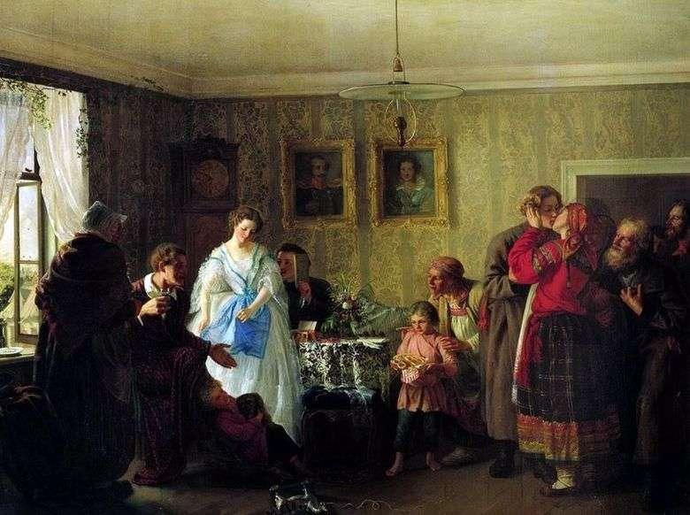 Описание картины Григория Мясоедова «Поздравление молодых в доме помещика»