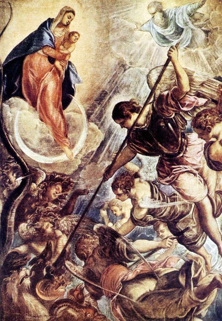 Описание картины Якопо Тинторетто «Битва архангела Михаила с сатаной»