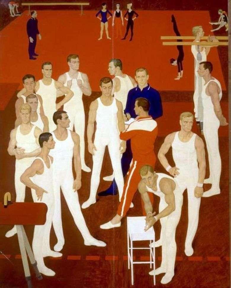 Описание картины Дмитрия Жилинского «Гимнасты СССР» (1964 1965)