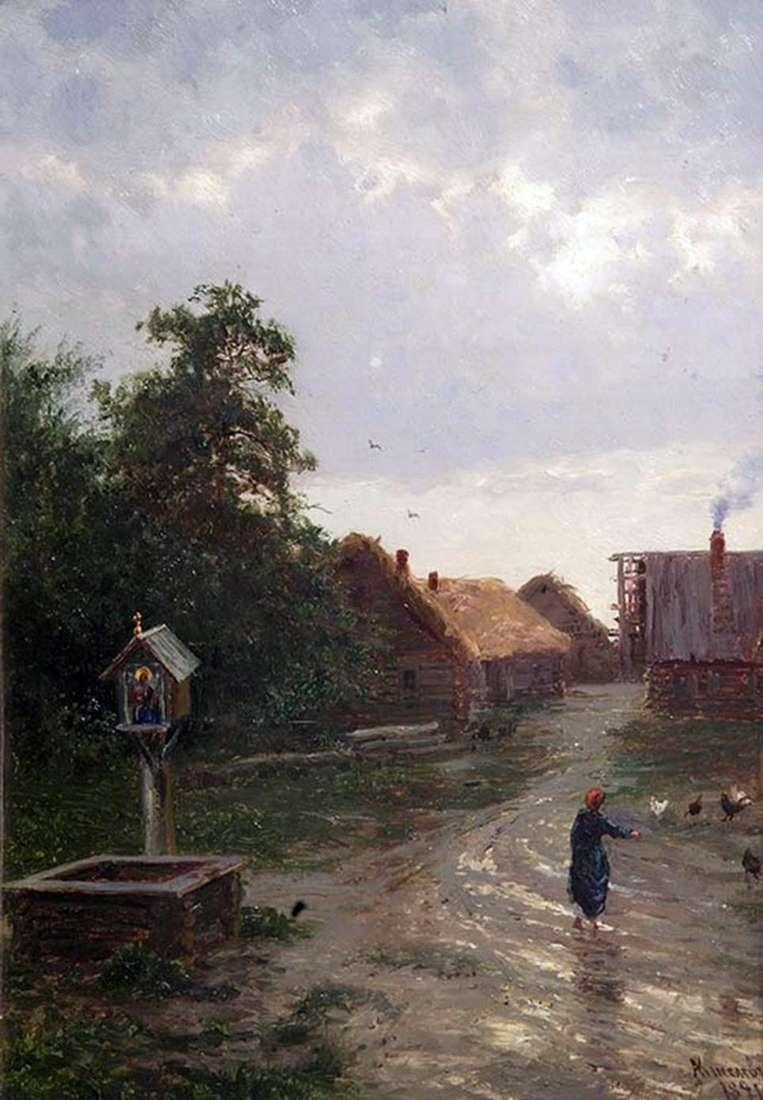 Описание картины Александра Киселева «Въезд в деревню» (1891)