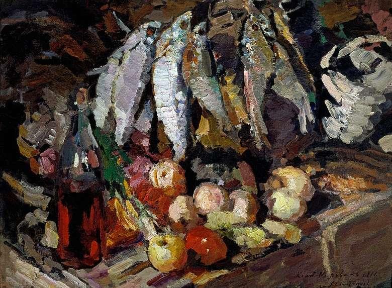 Описание картины Константина Коровина «Рыбы, вино и фрукты» (1916)