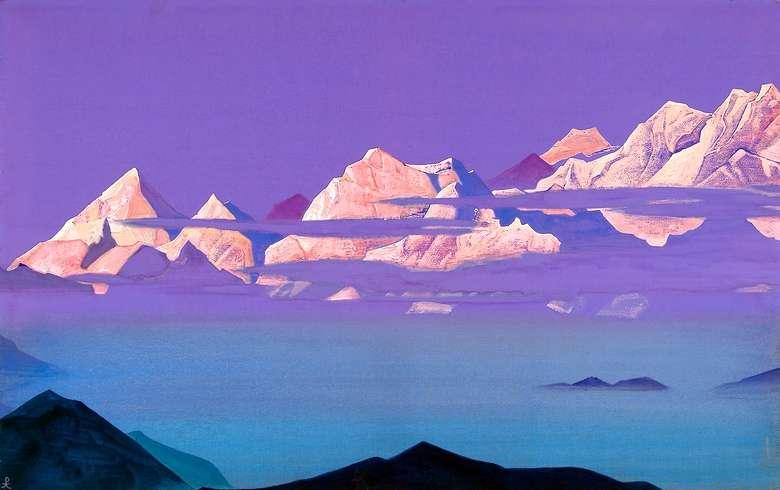 Описание картины Николая Рериха «Гималаи. Розовые горы»