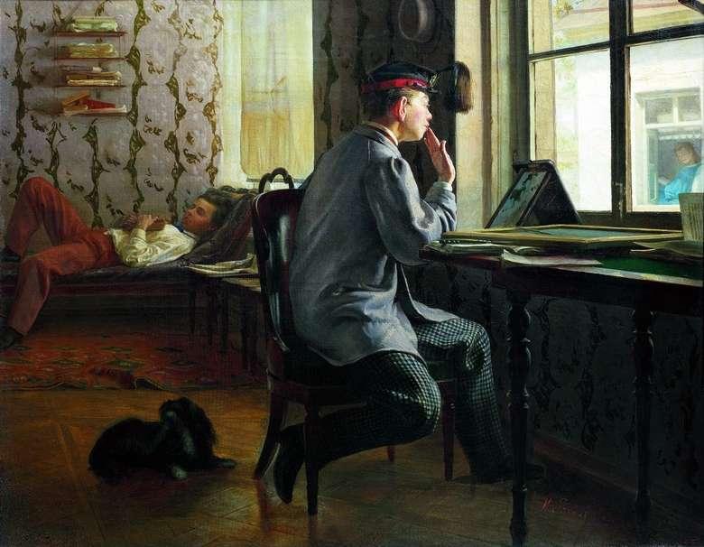 Описание картина Ильи Репина «Подготовка к экзамену»