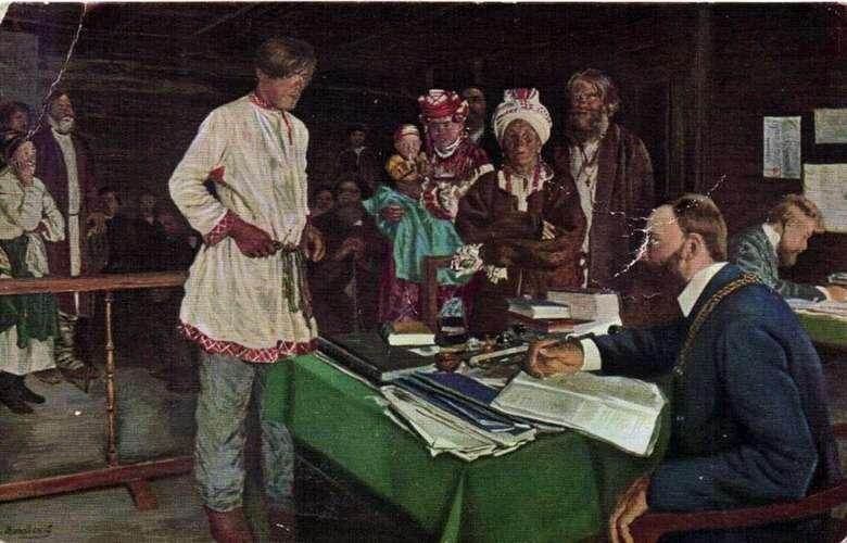 Описание картины Владимира Маковского «Семейное дело у мирового судьи»