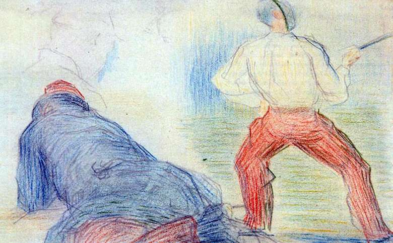 Описание картины Жорж Пьера Сёра «Военные»