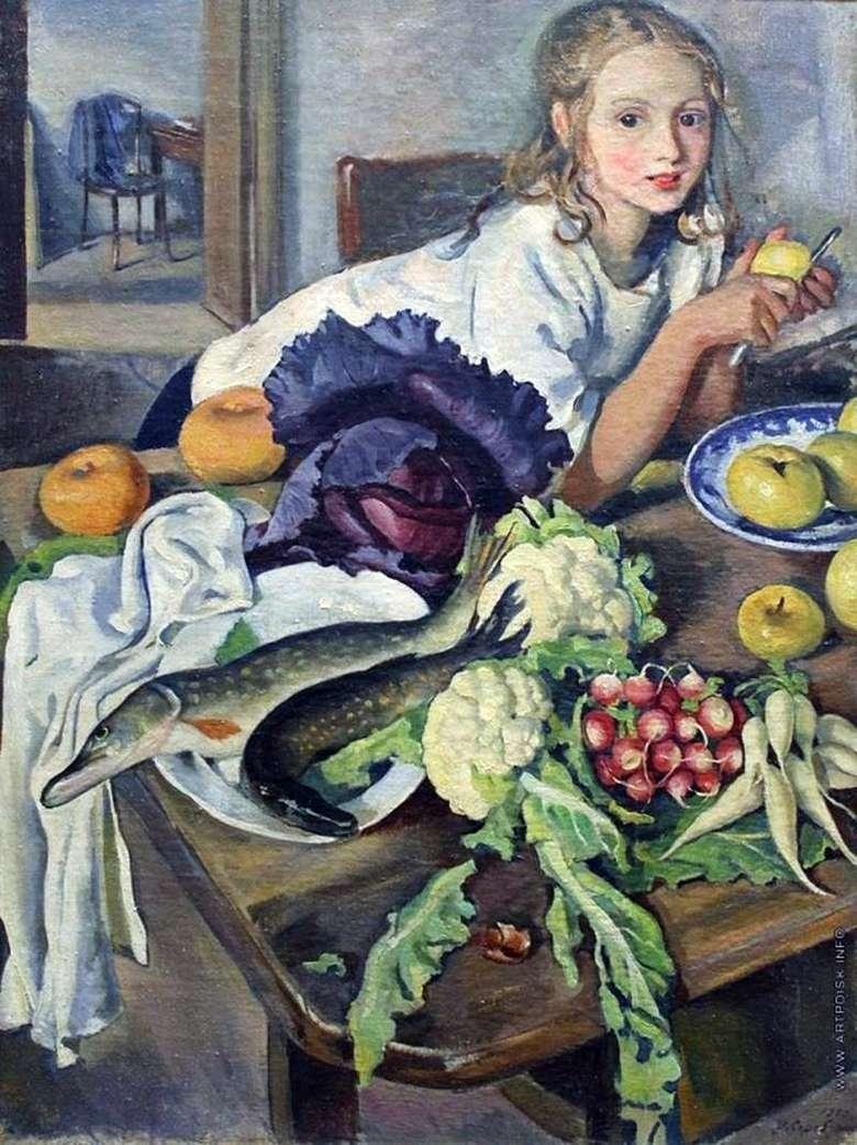 Описание картины Зинаиды Серебряковой «Катя с натюрмортом»