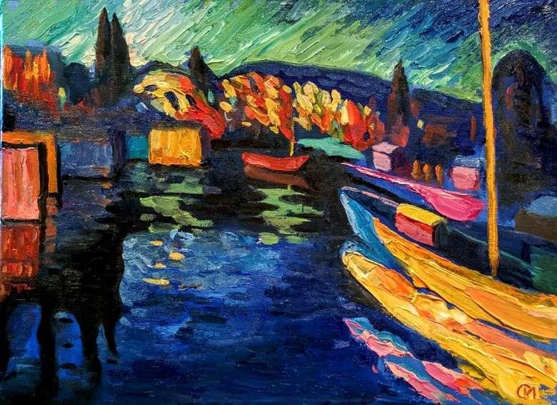 Описание картины Василия Васильевича Кандинского «Осенний пейзаж с лодками»