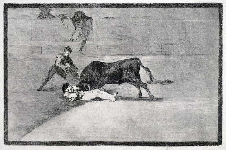 Описание «Тавромахии» Франсиско Гойя офорт No 33: Трагическая смерть Пепе Ильо на арене Мадрида