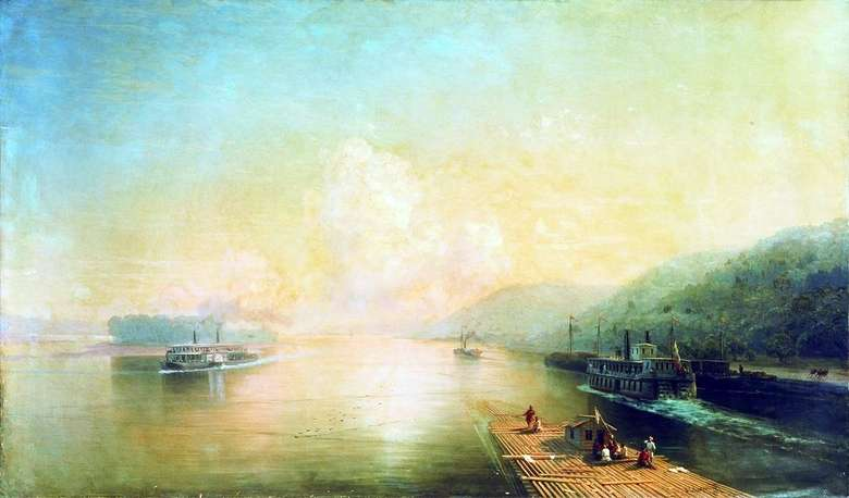 Описание картины Ивана Айвазовского «Волга у Жигулевских гор»