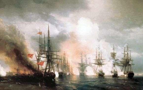 Описание картины Ивана Айвазовского «Синопский бой»