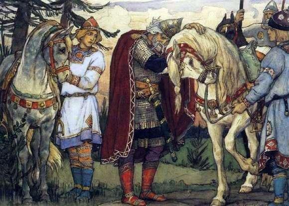 Описание картины Виктора Васнецова «Прощание Олега с конем»
