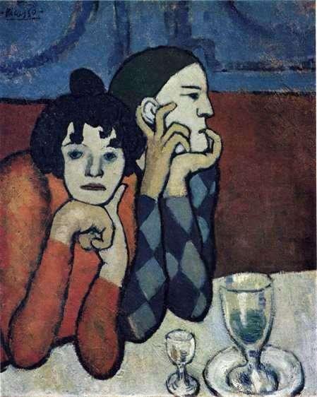 Описание картины Пабло Пикассо «Арлекин и его подружка»