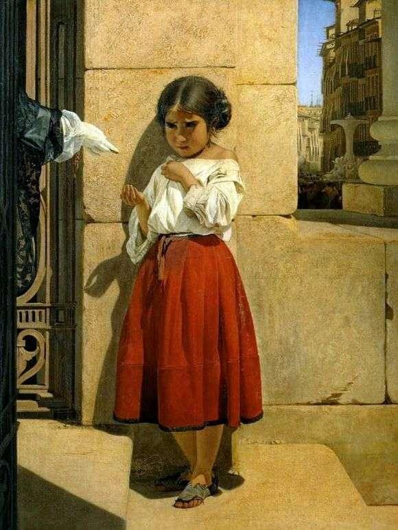 Описание картины Евграфа Сорокина «Нищая девочка испанка»