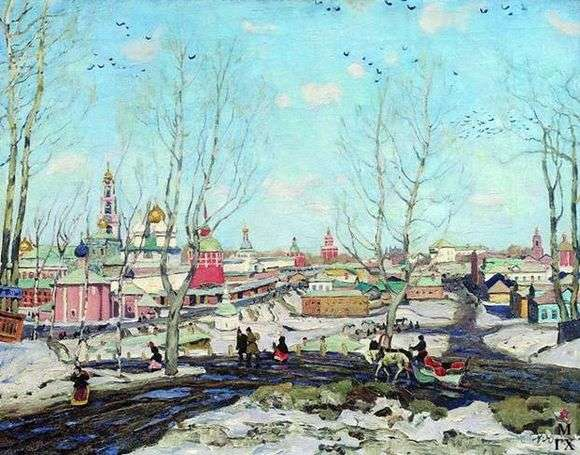 Описание картины Константина Юона «Весна в Троице Сергиевой лавре»
