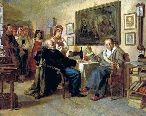 Описание картины Николая Неврева «Торг. Сцена из крепостного быта»